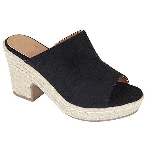 ShoBeautiful Women's Slip on Slides Platform Chunky Block Heel Sandals Open Toe Mules Summer Slipper Shoes DK01 Black 7