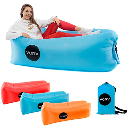 Vorv Inflatable Air Sofa Lounger   Portable Hammock   Anti-Air Leaking Design   Ideal Indoor-Outdoor Couch for Backyard   Camping   Park   Hiking   Traveling   Picnics   Pool   Music Festivals