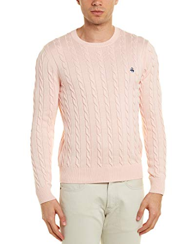 (Brooks Brothers Mens Crew Sweater, M, Pink)