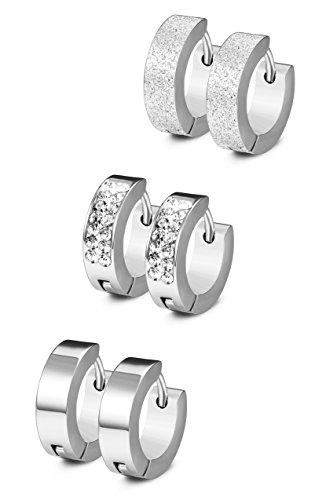 Jstyle 3 Pairs Stainless Steel Mens Womens Hoop Earrings CZ Huggie Earrings Ear Piercing 18G (Stainless Steel Huggie Earrings)