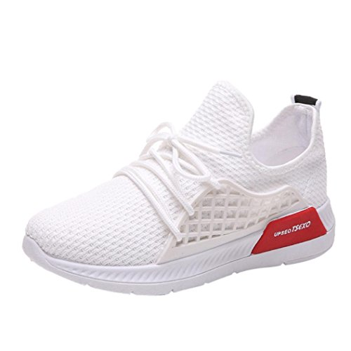 VEMOW Sports Outdoor Shoes for Women, Trainers Mary Janes Cute Lace-up Flats Flip Flops Thongs Espadrilles Wedge Running Walking Dance, Stretch Fabric Color Cross Tied Gym Shoes White