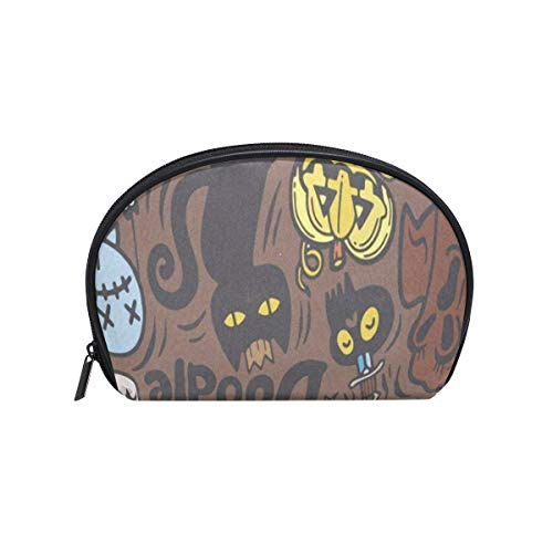 Cosmetic Bag Halloween With Vampire Witch Mummy Wolf Ghost Customized Shell Makeup Bags Organizer Portable Pouch for Women/Girls ()