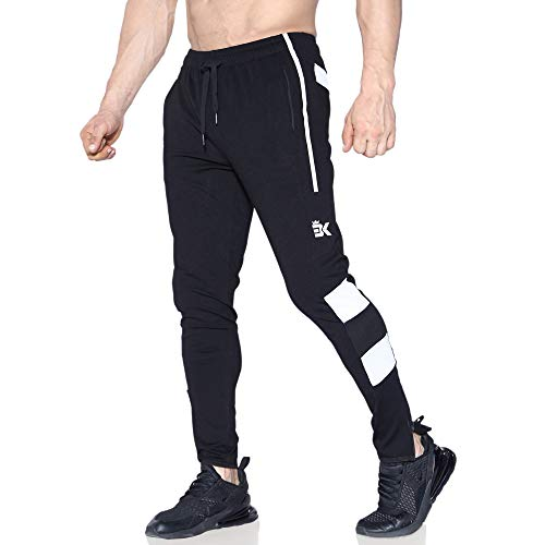 - BROKIG Men's Slim Fit Gym Joggers Workout Pants Sport Sweatpants Zipper Pockets (Large, Black)