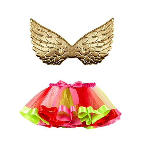 QUICATCH Baby Girls Halloween Cloth Tutu Dress Bow Knot Ballet Party Skirts+Wing Set(L,Green)