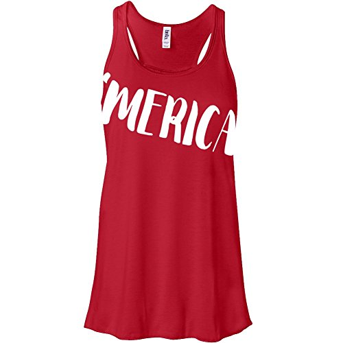 Funny 'MERICA flowy TANK - perfect for 4th of July festivities (XL, Red)