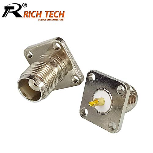 Gimax 10pcs/lot TNC Female Panel Mount Connector Nickel Plated Female TNC Socket Chassis RF Adapter Wholesale