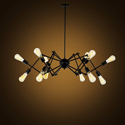 Vintage Retro Chandelier Black Spider Pendant Lighting Black Metal Steel Art Dining Room Flush Mount Ceiling light Industrial Pendant Lamp 12 Lamp Holders (Chandelier Light Twelve Steel)