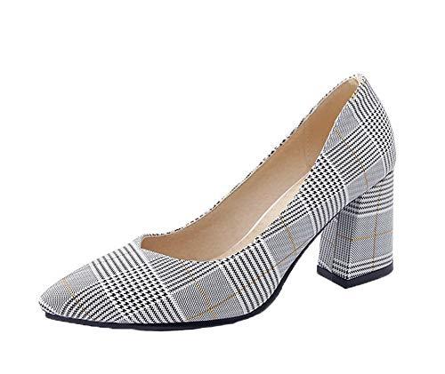 scarpe Pompe Donne Grigio Punta Punta Pu Busdt004502 Chiusi tacchi Amoonyfashion A wfYqFrYX