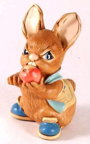 - Pendelfin Scrumpy stonecraft rabbit - cheeky rabbit sculpture biting into an apple - PDF15