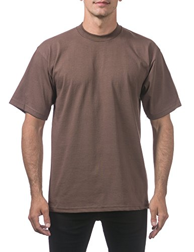Heavyweight Hat - Pro Club Men's Heavyweight Cotton Short Sleeve Crew Neck T-Shirt, XL - Tall, Brown
