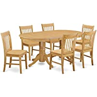 East West Furniture VANO7-OAK-W 7 Piece Kitchen Table and 6 Chair Set