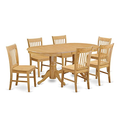 Double Pedestal Dining Set - East West Furniture VANO7-OAK-W 7 Piece Kitchen Table and 6 Chair Set
