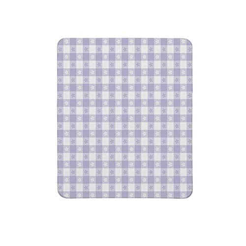 Lavender Non Slip Mouse Pad,Pastel Colored Classic Gingham Check Pattern with Delicate Small Blossoms Decorative for Home & Office,11