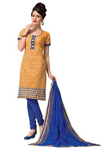 Vibes Women's Cotton Salwar Suit Dress Material – Free Size, Yellow