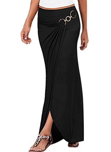 VfEmage Womens Summer Ruched High Waist Slit Casual Beach Long Skirt 2699 BLK ()