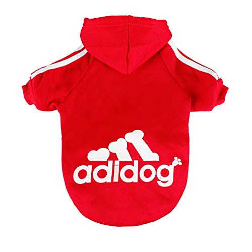 (Scheppend Pet Clothes for Dogs Cats Adidog Hoodie Puppy Kitty Winter Warm Coat Outfit Soft Cozy Sweater Dog Windproof Tracksuit Sweatshirts, L Red)