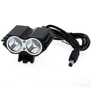 Ocaler®Linterna Faro de bicicleta Led con luz blanca 4-modo 2000lm,Color:negro