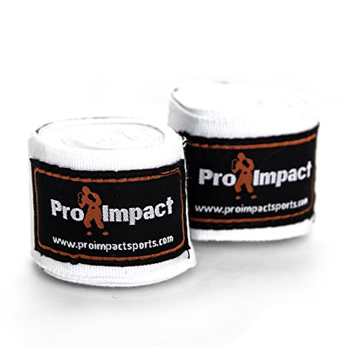 Pro Impact Mexican Style Boxing Handwraps 180″ with Closure – Elastic Hand & Wrist Support for Muay Thai Kickboxing Training Gym Workout or MMA for Men & Women – 1 Pair (White)