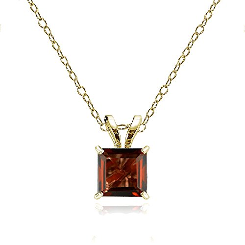 Bria Lou 14k Yellow Gold Garnet Gemstone 6mm Square-Cut Solitaire Pendant Necklace, 18
