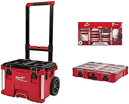 MILWAUKEE'S Pack𝘖𝘜𝘛 Rolling Tool Box w/Pack𝘖𝘜𝘛 Organizer & 75PC Impact Drill Set