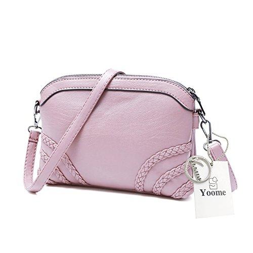 Yoome Diagonal Stripe Retro de color puro de gran capacidad bolsos de cuero suave bolsos para las mujeres - Rosa Rosado