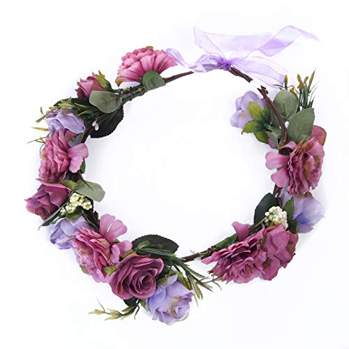 Flower Party Supplies Women Girls Flower Crown Floral Garland Halo Headband - Weddings, Maternity Shoots, Festivals, Brides, Bridesmaids, Birthdays Hair Accessories (Purple -