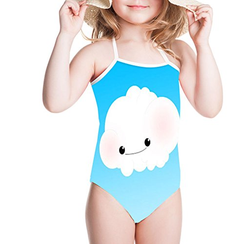 Sannovo Little Girl Romper White Cloud Print Jumpsuit Summer Beach One-Piece Outfit 7T-8T by Sannovo (Image #7)
