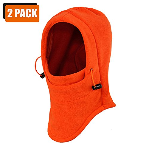 - ezyoutdoor Cycling Thermal Fleece Balaclava Full Face Mask Cover Hat Full Protection Motorcycle Windproof Hat Full Face Mask for Motorcycle Cycling Skiing Snowboarding-2 Pack-Orange