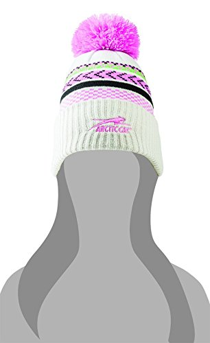 (Arctic Cat Aircat Gray Beanie with Pink Pom)