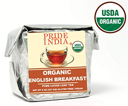 - Pride Of India - Organic English Breakfast Premium Black Tea, Half Pound (8oz - 227gm) Full Leaf Tea - Makes 80 - 100 cups - Perfectly Blended with Indian Black Teas for Invigorating Aroma & Flavor