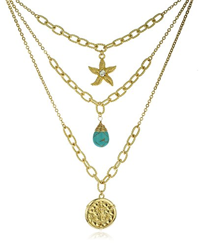 Goldtone Sea Life Layered Necklace with Turquoise Stone