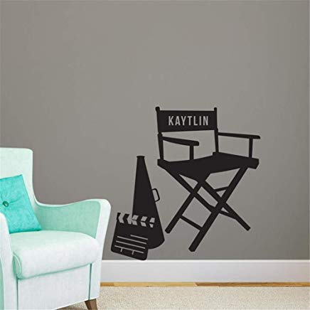 (Night Light Personalized Name Directors Chair Wall Decals for Kids Rooms Boys Girls Bedrooms Wall Art Decor Nursery Wall Stickers)