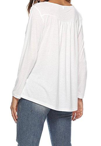 Tee Femmes Printemps Blanc Shirt Tops Blouses Mode Manches et Automne Chemisiers T Longues Haut Plier 7TTqFwC
