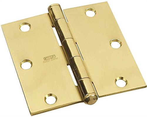 Stanley National Hardware S800-100 CD749 Solid Brass Square Corner Residential Hinge in Bright (Cabinet Hinges Bright Solid Brass)
