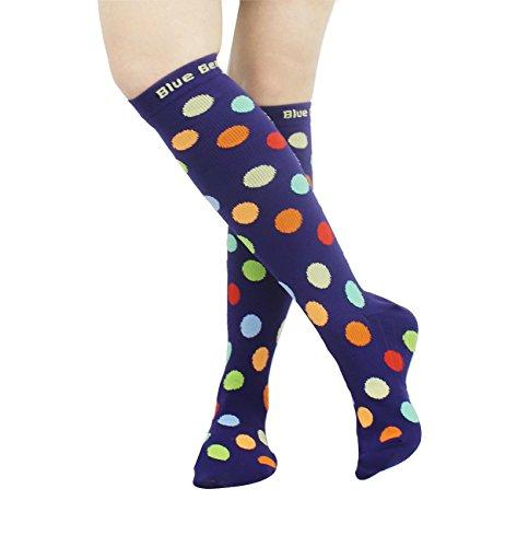 Blue Beat Women Compression Socks for Pregnancy Flight Travel Sport Running Fitness Nursing Basic Daily Graduated 15-20 mmHg Support Stockings