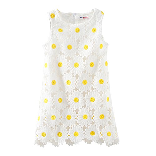 Mud Kingdom Boutique Toddler Girl Dress White Sunflower Summer 3T
