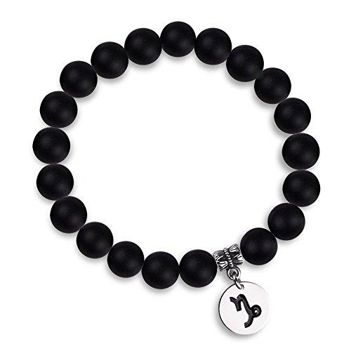 Jeka Zodiac Bracelet for Men Women Capricorn Constellation Sign Charm 10mm Black Agate Natural Stone Healing Energy Beads Elastic Handmade Jewelry