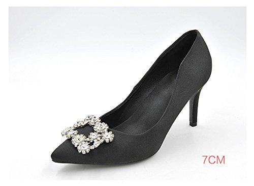 acqua 7cm e acqua semplici punta decorate tacco ad 37 tacco della alta La alta scarpe colori foratura scarpe in di di comodo colore nero perforazione versatile 0xSEwqfU