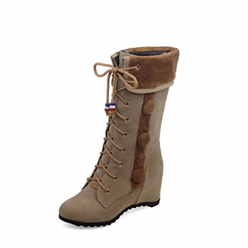 winter flat tube boots round in boots The size increase Grey matte wfW64UqEn
