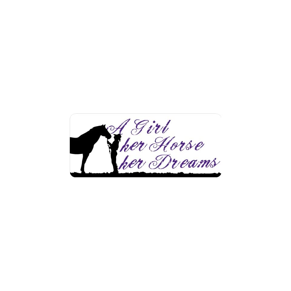 a girl her horse her dreams barrel racing bumper sticker 81/4 x31/2