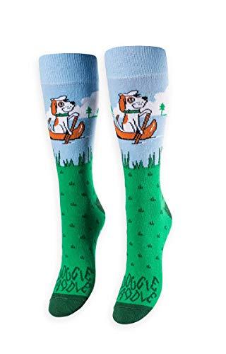 FREAKER Feet, Unisex Casual Dress Fun Colorful Cotton Crew Socks, Doggie Paddle Dog Doggy Canine