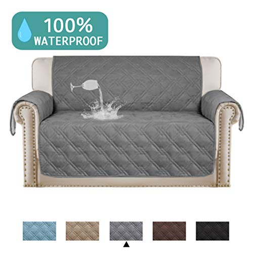 100% Waterproof Couch Cover for Leather Couch Protector Pet Furniture Covers For Living Room Waterproof Loveseat Cover Non Slip Dog Couch Cover Great for Pets (Oversize Loveseat 75