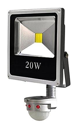 Wonderlamp Proyector LED con Sensor Movimiento, 10 W, Gris, 21 x 11.5 x