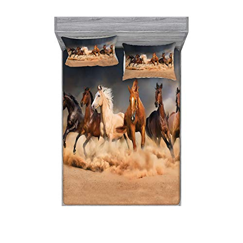 Ambesonne Horse Fitted Sheet & Pillow Sham Set, Equine Themed Animals Galloping in The Sand Running Horses Pattern, Decorative Printed 3 Piece Bedding Decor Set, Full, Brown Charcoal
