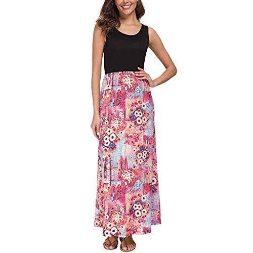 Women Floral Maxi Dresses Summer Crew Neck Sleeveless Tank Long Dress with Pockets Pink