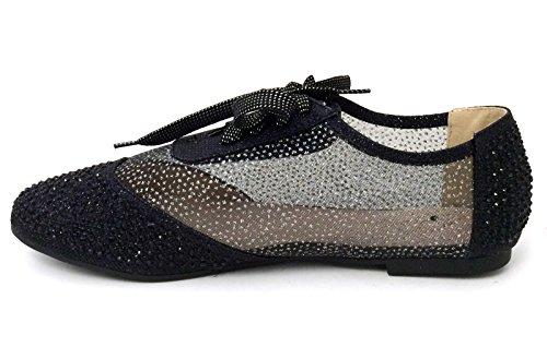 01 Bootie Women's Casual Lace Rhinestones Gold Up Detail Flats Black Lace Wen Silver Black Mesh Oxfords Shoes q7TPqdH