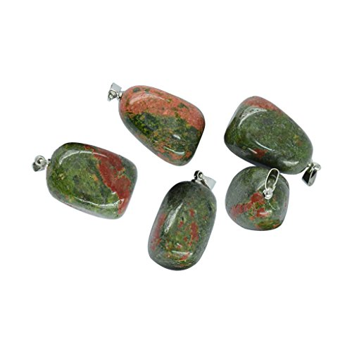 Beads Pendant Jasper Necklace (Dovewill 5pcs Gemstone Beads Crystal Quartz Stone Pendant for Necklace Jewelry Making - Green Unakite Jasper)