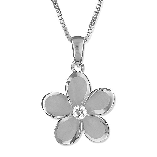 Pendant Plumeria 15 Mm (Rhodium Plated Sterling Silver 15mm Plumeria Pendant Necklace, 18+2