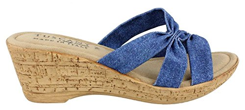 Easy Street Women's Lauria Wedge Sandal, Jeans, 8.5 M (Shoe Blue Denim)