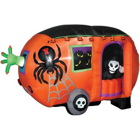 [4.5 foot Tall x 8 foot Long Animated Airblown Inflatable Halloween Camper] (Halloween Outdoor Inflatables)
